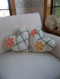 Vintage Chenille Pillow Heart Pillow READY to SHIP Handmade Decorative Pillow Bedroom Pillow French Country Cottage Chic Sold Separately