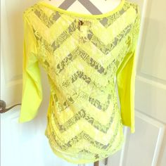 Yellow blouse with Lacey back Cute yellow blouse with Lacey back SO Tops Blouses
