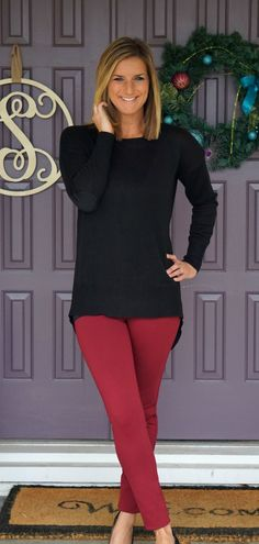 RD style Angus split back mixed material sweater and Liverpool Anita skinny pant - loving the color combo