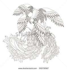 beautiful flying bird coloring page in exquisite line