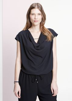 Draped blouse - Blouses and shirts for Women | MANGO