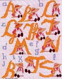 Alfabeto con sunbonnet e piccoli alfabeti di contorno
