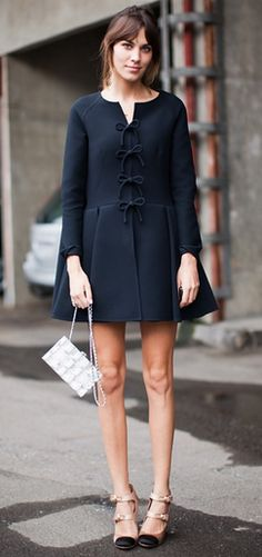 Red Valentino pretty bow coat on Alexa Chung who, of course, is the coolest girl in the world.