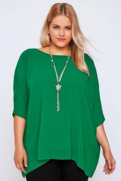 Green Batwing Sleeve Chiffon Top With Necklace