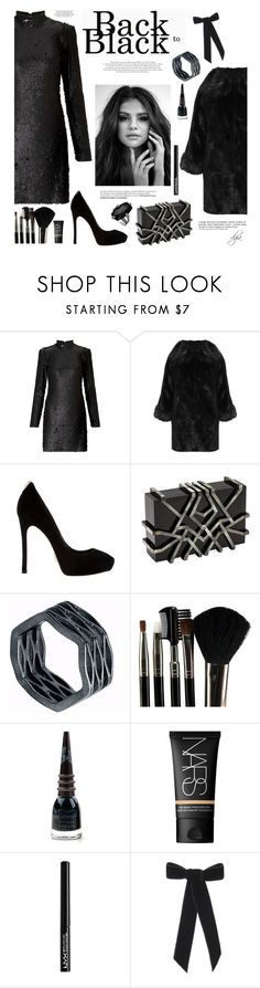 """Selena Gomez in black"" by dgia ❤ liked on Polyvore featuring Miss Selfridge, WearAll, Nathalie Trad, Neola, Glamour Status, Manic Panic NYC, NARS Cosmetics, NYX, Anja and Jennifer Behr"