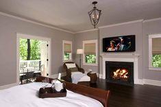 Dark Wood Bedroom Flooring - Top Home Design - 6038 Wood Bedroom, Bedroom Flooring, Master Bedroom Design, Home Decor Bedroom, Modern Bedroom, Dream Bedroom, Master Suite, Bedroom Fireplace, Fireplace Mantel