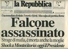 Risultati immagini per titoli di giornali sulla morte di falcone
