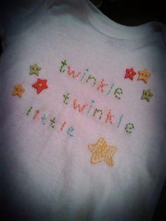 Hand Embroidered Onesie  Twinkle Twinkle Little Star by EllaAndI, $20.00