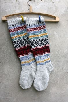 Grey Knee high knitted socks with Scandinavian ornaments for her or for him / unisex adults. $74.00, via Etsy.