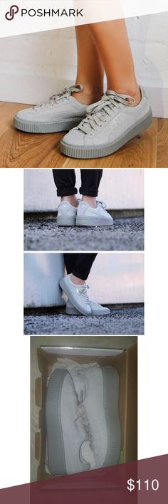 """Host Pick Puma Basket Platform Proud """"Best in Gifts"""" Host Pick!   Brand new.  Top is light gray and platform dark gray.  Looks very cute with distressed ankle jeans and a graphic tee  Puma Shoes Platforms"""