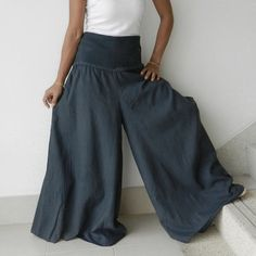 □ materials: linen □ description: elastic waist floor length
