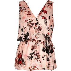 River Island Pink floral print frill wrap V-neck top (22 CAD) ❤ liked on Polyvore featuring tops, sale, pink ruffle top, floral print top, v neck sleeveless top, tall tops and pink sleeveless top