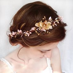 wedding hair accessories pink flower hair circlet by thehoneycomb, $105.00