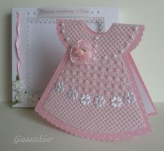 Entrar em contato com Gozia Ker. to sell talk… Baby Girl Cards, New Baby Cards, Baby Motiv, Parchment Cards, Dress Card, Baby Christening, Baby Shower Cards, Baby Scrapbook, Handmade Birthday Cards