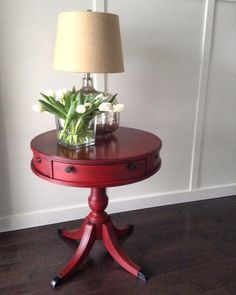 A beautiful drum table FAT Paint'd in Red Barchetta and finished with our black FAT Glaze. A custom job by Handmade Loft in the Park, who creates absolutely stunning rustic, refurbished pieces in Sherwood Park, Alberta.