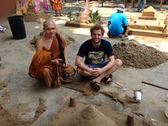 We were interviewed by this monk about the sand castle and why we were making one.
