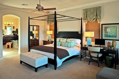 Work desk also doubles as a smart nightstand -- Creative Bedroom Workspaces with Style and Practicality