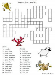 Animal Groups Names Crossword Puzzle That Is Part Of A Whole Packet Printable Puzzles FREE And Easy To Download At HomeEducationResources
