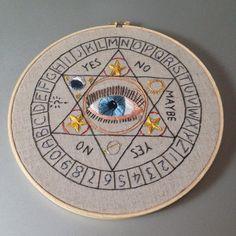 ouija board, ouija board - hand embroidered wall hanging / hoop art