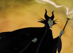 Maleficent with Sceptre and Lightning Sleeping Beauty (Walt Disney Studio, 1959) Full color animation cel Custom background 10.5″ x 14″