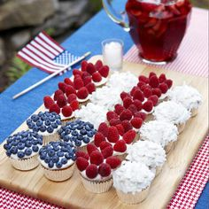 4th of July- Cupcake Flag with Berries and Coconut