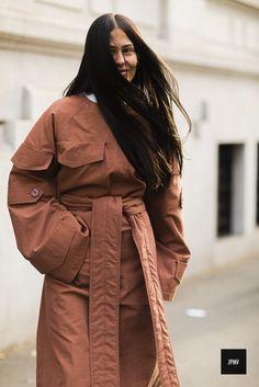 Streetstyle of Gilda Ambrosio wearing a Marni blouse during Milan Fashion Week Fall Winter 2017