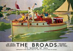 Norfolk Broads England Vintage Style Travel Poster Masterprint - AllPosters.co.uk