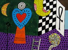 """Room of the Heart No. 3 by Alan Davie Gouache on Paper: 56 x 76 cm Signed and Dated """"Oct. Alan Davies, Kazimir Malevich, Teaching French, French Artists, Gouache, Abstract Art, Kids Rugs, Fine Art, Contemporary"""
