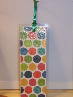 laminated paper bookmark (sq.) - colorful lg. glitter dots