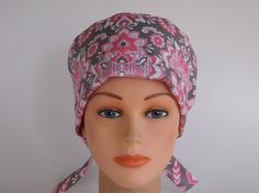 Pink Charming Tie Back - Womens lined surgical scrub cap 9433e9ea7