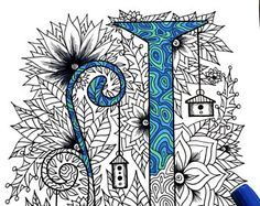 Letter M Zentangle  Inspired by the font Penelope