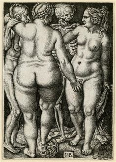 Der Tod und drei Frauen, engraving by Hans Sebald Beham after design by Barthel Beham (1546-50); Dresden (SKD), Germany