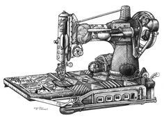 """Sewing Machine from Don Stewart art. Uses all the things pertaining to sewing to make the drawing. Available in an 11x14"""" print."""