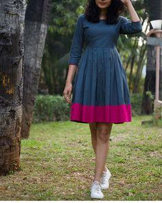 Bougainvillea Dress by Why So Blue Kurta Designs, Kurti Designs Party Wear, Long Dress Design, Stylish Dress Designs, Long Gown Dress, Frock Dress, Frock Design, Trendy Dresses, Casual Dresses