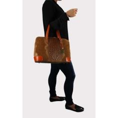 Handtasche Ledertasche Kroko Optik braun