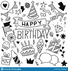 Hand Drawn Party Doodle Happy Birthday Ornaments Background Pattern Vector Illustration Stock Vector - Illustration of happy, balloon: 153519142 Happy Birthday Doodles, Happy Birthday Font, Happy Birthday Calligraphy, Happy Birthday Drawings, Birthday Card Drawing, Happy Birthday Posters, Happy Balloons, Cool Paper Crafts, Doodle Coloring