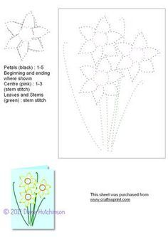 Daffodils on Craftsuprint designed by Diana Hutchinson - A stitching pattern with three Daffodils. Would suit any occasion. - Now available for download!