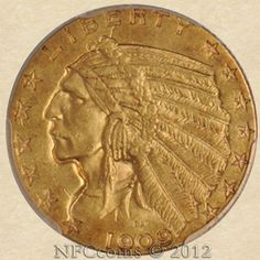 1909-O Five Dollar Gold Indian MS61 PCGS, obverse
