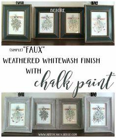 Weathered Whitewash Finish - SIMPLE FAUX DIY - artsychicksrule.com #weatheredwood #weatheredfinish #whitewashwood #whitewashfinish