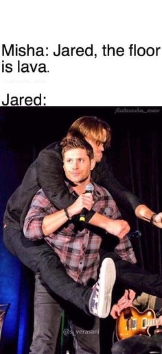 This would be a great the Floor is Lava challenge Wink wink nudge nudge Winchester Boys, Winchester Brothers, Supernatural Memes, Jared And Jensen, Super Natural, Jared Padalecki, Castiel, Superwholock, Hilarious
