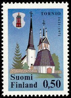 Postage stamp celebrating 350th anniversary of the city of Tornio, Finland. 1971.