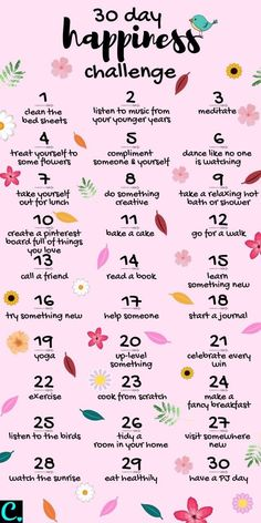 Want To Know How To Be Happy? Take This 30 Day Happiness Challenge! - Captivating Crazy Want To Know How To Be Happy? Take This 30 Day Happiness Challenge! - Captivating Crazy,Self-Care & Self-Love 30 Day Happiness Challenge Infrographic 30 Tag, Vie Motivation, Morning Motivation, Business Motivation, Sport Motivation, Motivation Boards, Health Motivation, What To Do When Bored, Things To Do When Bored For Teens