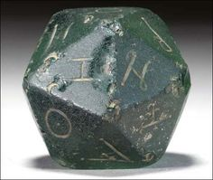 """1,800 year old 20 sided die.    """"For when they played Dungeons and Dragons - in dungeons, with dragons."""""""
