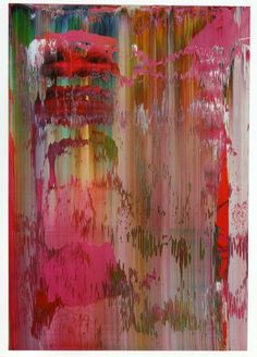 Gerhard Richter (b1932) Abstract Painting. From the mid-1980s, Richter began to use a home-made squeegee to rub and scrape the paint that he had applied in large bands across his canvases. In the 1990s the artist began to run his squeegee up and down the canvas in an ordered fashion to produce vertical columns that take on the look of a wall of planks