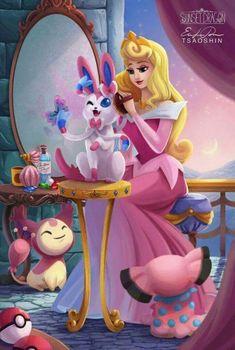 Princesas Disney e seus pokémon - Just Lia Bella Disney, Cute Disney, Disney Girls, Disney Cartoons, Disney Movies, Disney Characters, Disney Fan Art, Princesa Disney Aurora, Aurora Disney