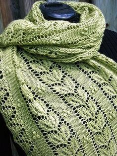 Ravelry: Leaf and Nupp Shawl pattern by Nancy Bush. I am going to have to acquire more lace-weight yarn, and that's just all there is to it. Crochet Motifs, Crochet Shawl, Knit Crochet, Lace Knitting, Knitting Stitches, Knitting Patterns, Knitting Scarves, Shawl Patterns, Knitting Accessories