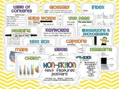 Features of Nonfiction Text - Cute & Informative Posters Galore!