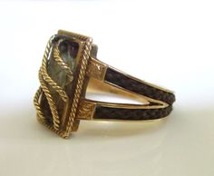 Antique Victorian Mourning Hair RIng