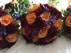 Fall wedding bouquets in rich jewel tones