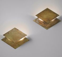 Gabriella Crespi; Brass 'Rombo' Wall Lights, c1976.